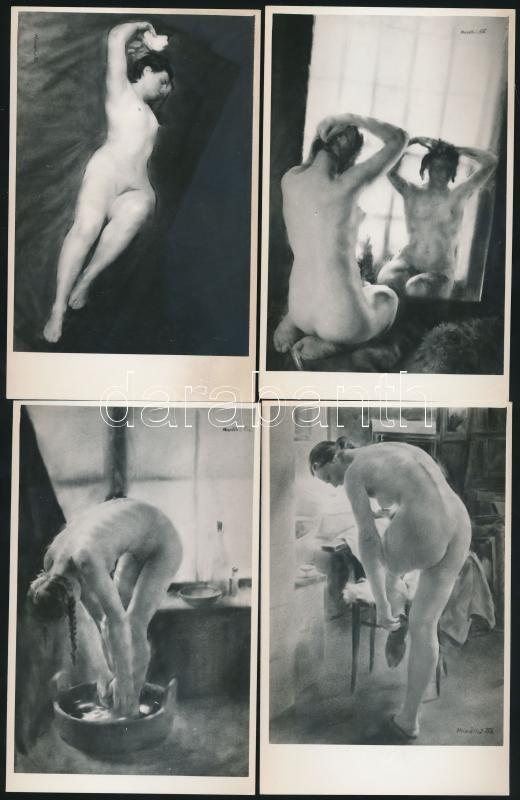 cca 1960 Soproni Horváth E. finoman erotikus festményeinek fényképi másolata, 8 db fotólap, hátoldalán pecsét, 9x14 cm