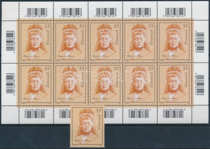 Bertha von Suttner stamp + mini sheet, Bertha von Suttner bélyeg + kisív