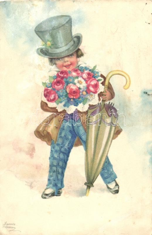 Fiú esernyővel és virágcsokorral, litho s: Hannes Petersen, Boy with umbrella and flowers, litho s: Hannes Petersen