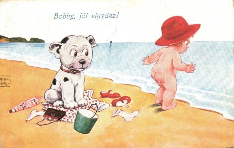 Bonzo Dog, little girl on the beach s: John Wills, 'Bobby, jól vigyázz!', kislány és Bonzo kutya a strandon s: John Wills