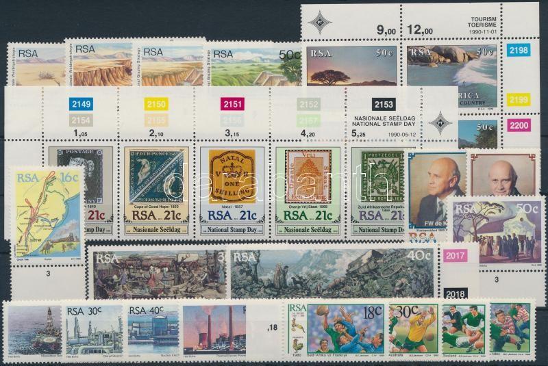 1988-1990 7 sets, 1988-1990 7 db teljes sor, közte ívszéli értékek és összefüggések