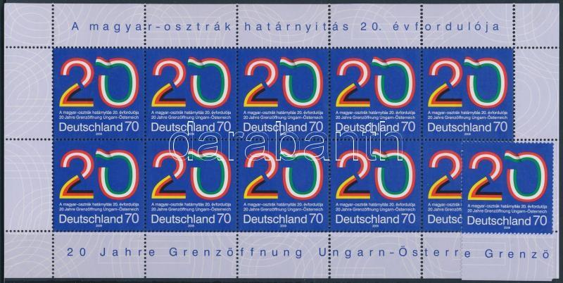 20th anniversary of Hungarian-Austrian border opening margin stamp + minisheet, A magyar-osztrák határnyitás 20. évfordulója ívszéli bélyeg + kisív