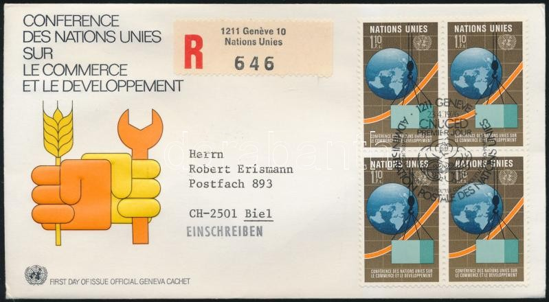 Ceonference block of 4 FDC, Konferencia négyestömb FDC-n