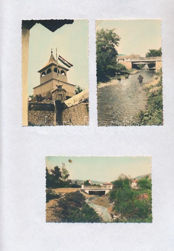 1941 Dédes, település a Bükk szélén, 6 db szépen színezett korabeli fotó papírra ragasztva, 7x11 cm