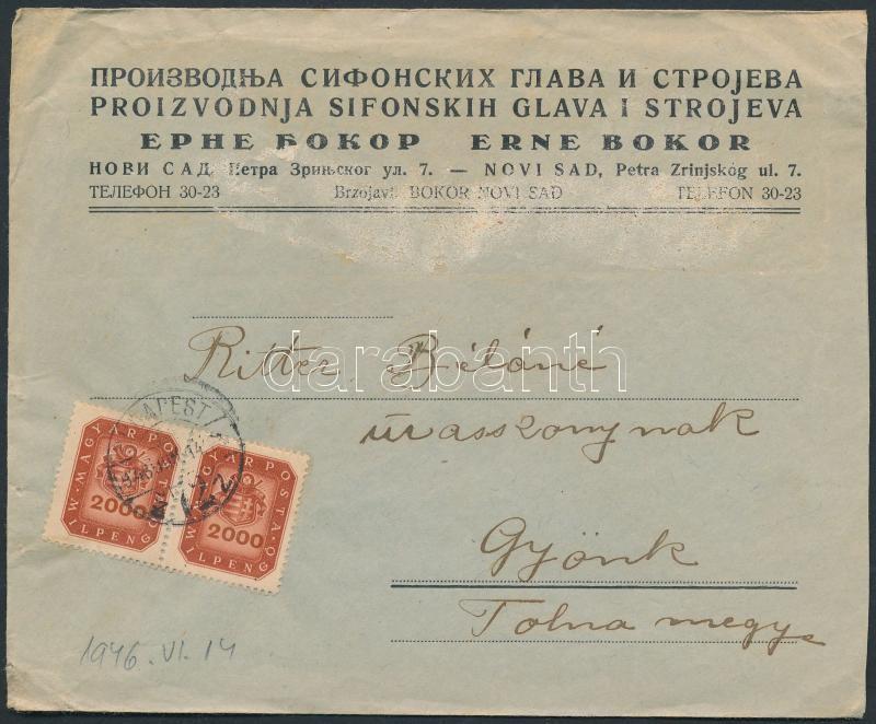 Inflation cover, (19.díjszabás) Távolsági levél Milpengős 2000mP párral bérmentesítve