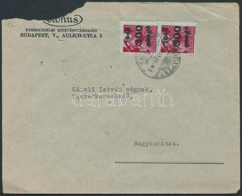 Inflation cover, (9.díjszabás) Távolsági céges levél Kisegítő (III) 2x300P/30f bérmentesítéssel (kis rész hiányzik a borítékból)