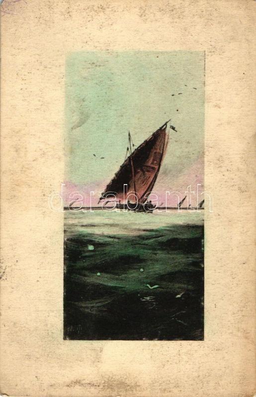 3 old motive cards, landscape, ships, mixed quality, 3 db régi motívum lap, tájkép és hajók, vegyes minőségű