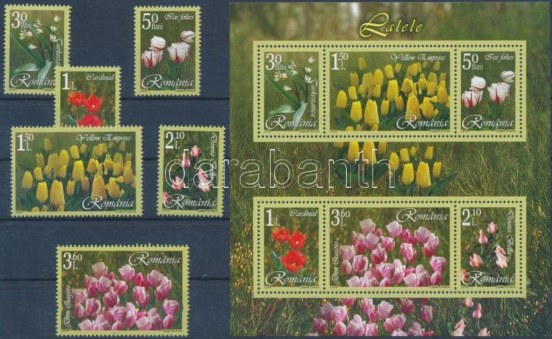 Tulips set + block, Tulipánok sor + blokk