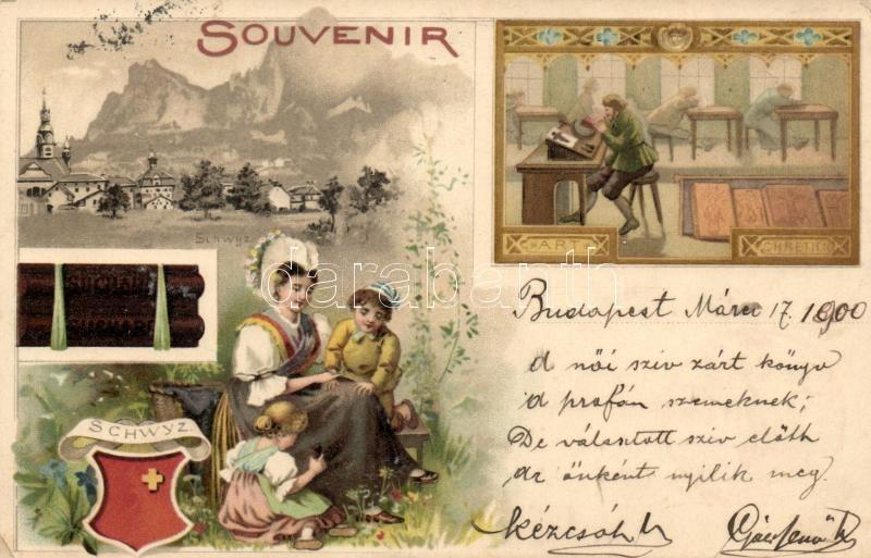 Schwyz, Art Chretien, Suchard advertisement, litho