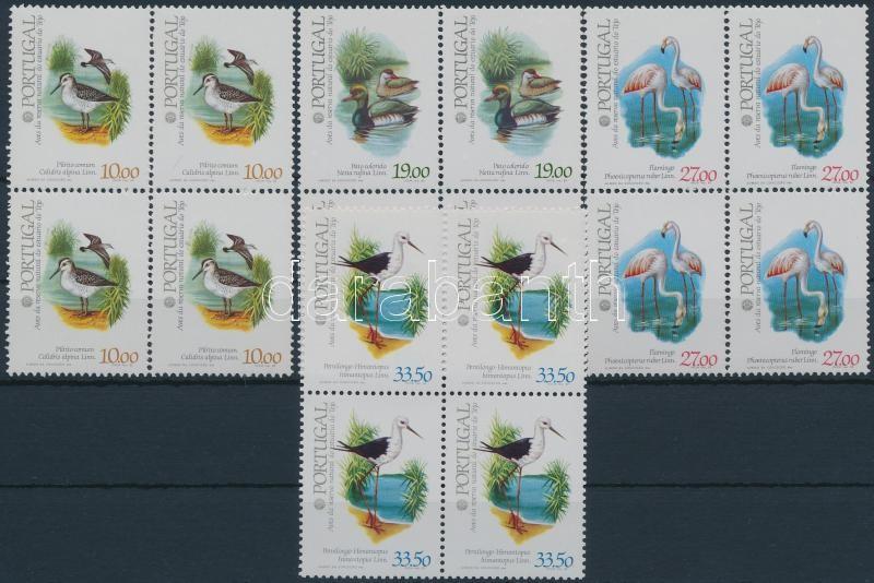 Stamp Exhibition; birds set blocks of 4, Bélyegkiállítás; Madarak sor 4-es tömbökben