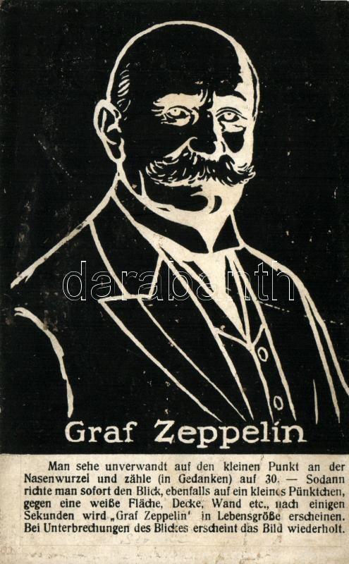 Graf Zeppelin, optical illusion postcard, Graf Zeppelin, optikai csalódás