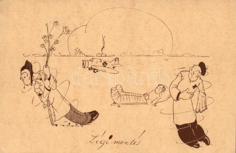 WWII-era Hungarian airforce humorous postcard s: Martinovits,