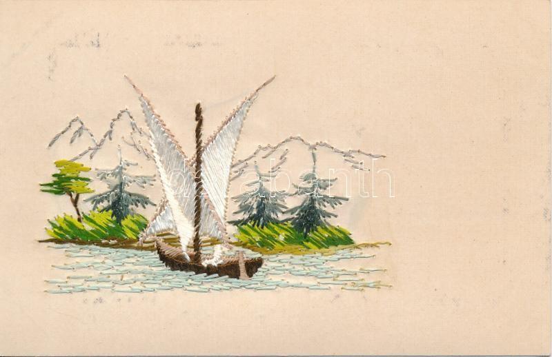 Sailboat, silk and litho postcard, Vitorlás, selyem és litho