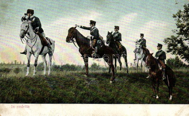 In Vedetta / Italian cavalrymen (slightly worn edges), Olasz lovas katonák (kopott sarkak)