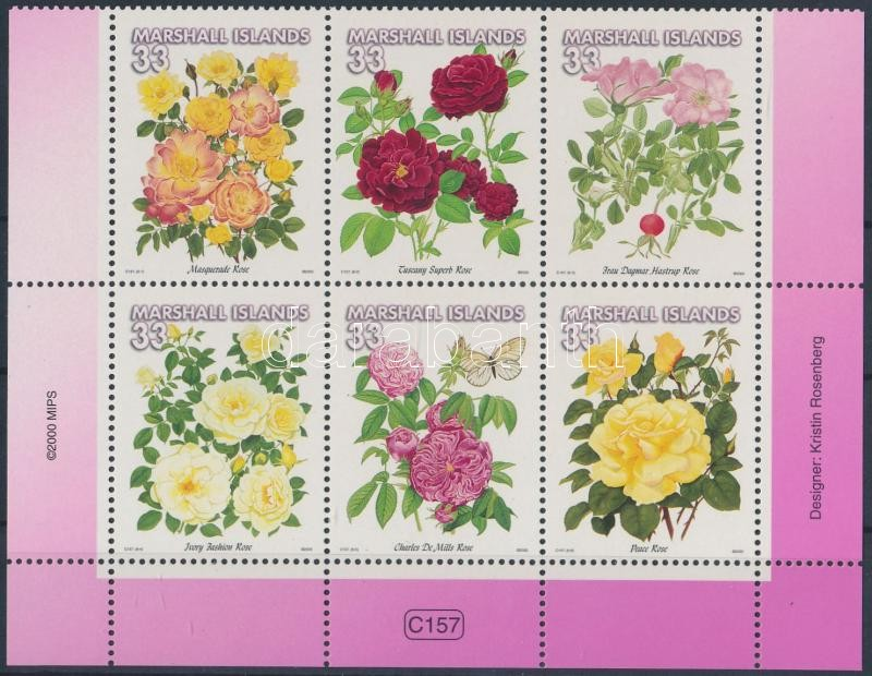 Roses set in corner block of 6, Rózsák sor ívsarki 6-os tömbben