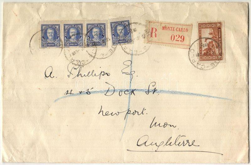 Large size registered cover to England, Nagyalakú ajánlott levél Nagybritanniába