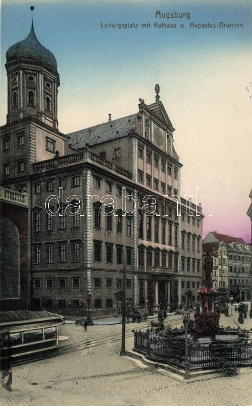 Augsburg, Ludwigsplatz, Rathaus, Augustusbrunnen / square, fountain, town hall, trams