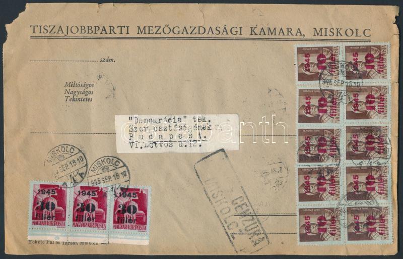 Inflation cover, (3.díjszabás) Távolsági cenzúrázott nagy levél 40 db Kisegítő (I) bélyeggel bérmentesítve (sérült a boríték)