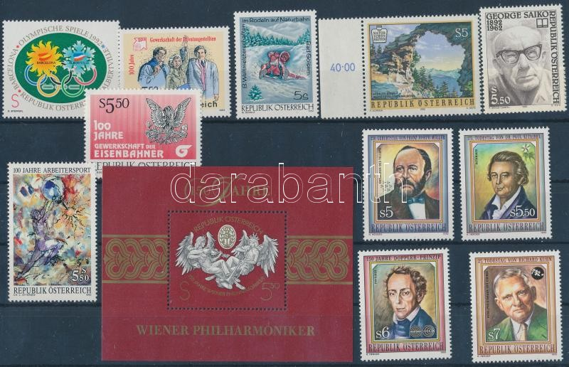 11 diff stamps + block 11 klf bélyeg, közte 1 ívszéli + blokk