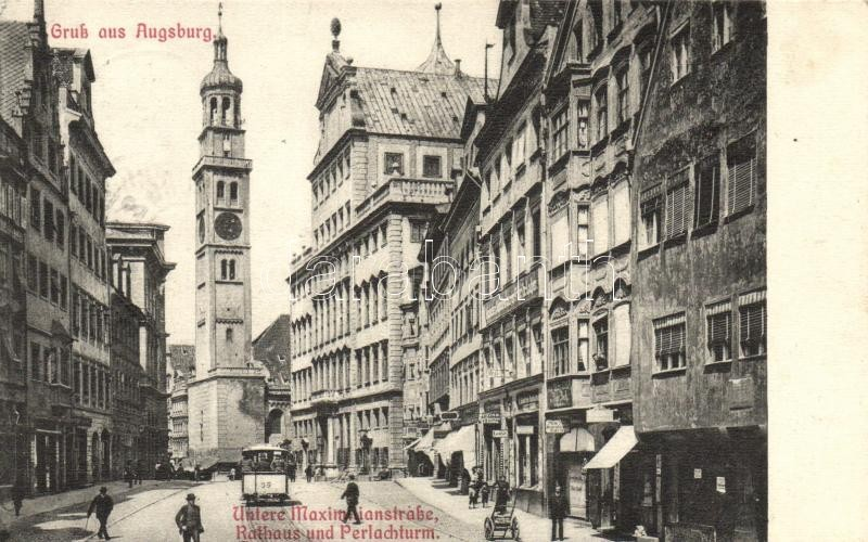 Augsburg, Untere Maximilianstrasse, Rathaus, Perlachturm / street view, town hall, tower, tram