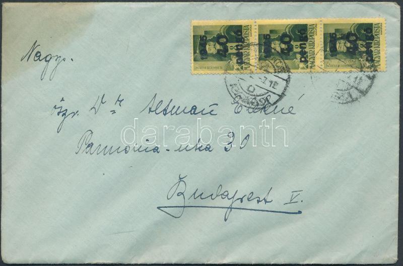 Inflation cover, (5.díjszabás) Távolsági levél Kisegítő (III) 3x40P/8f bérmentesítéssel