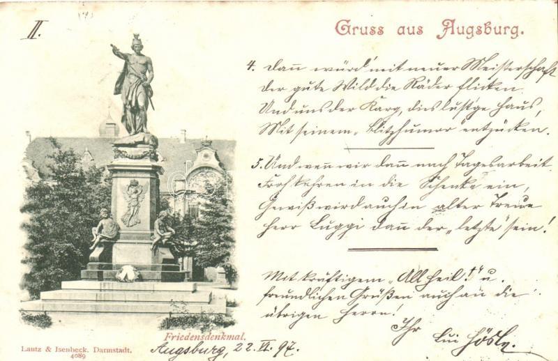 1897 Augsburg, Friedensdenkmal / Peace Memorial