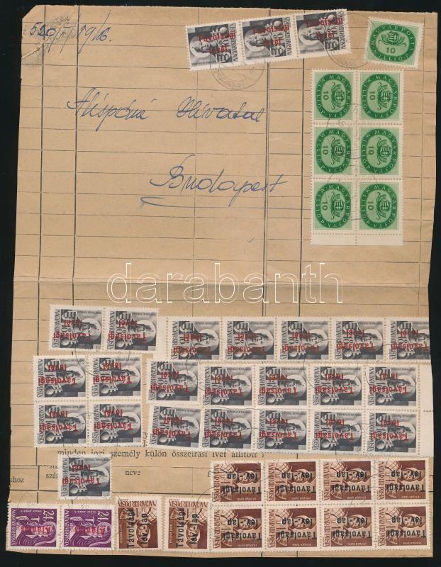 Inflation cover, (17. díjszabás) Szükségborítékos távolsági levél 120mP helyett 140mP bérmentesítéssel (44 db bélyeg) / Domestic cover franked with 44 stamps (boríték szétnyitva / opened for exposition purpose)