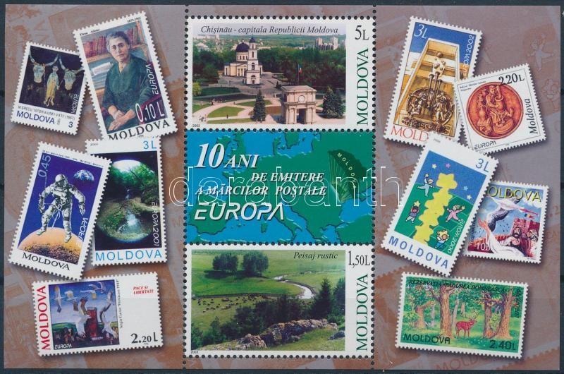 10th anniversary of Moldovan Europa CEPT stamp block 10 éves a moldáv Europa CEPT bélyeg blokk