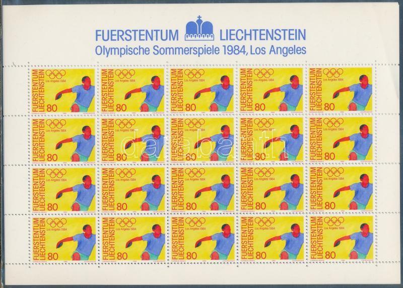 Summer olympics minisheet set (left over corners of minisheets are broken), Nyári olimpia kisívsor  (kisívek bal felső sarka megtört)