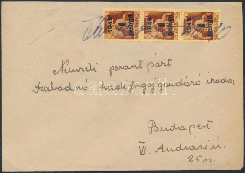 Inflation cover, (2.díjszabás) Távolsági levél Kisegítő (II) 3x1P/20f bérmentesítéssel, bélyegző hiányában a bélyegeken kézírásos helység megnevezés és keltezés