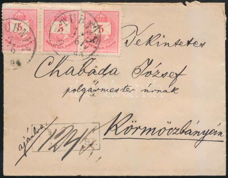 5kr stripe of 3 on registered mail Ó-STUBNYA-Körmöczbánya, 5kr hármascsík ajánlott levélen Ó-STUBNYA-Körmöczbánya, 5kr Fünferstreifen am Einschreibebrief Ó-STUBNYA-Körmöczbánya
