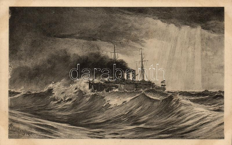 1916 SMS St. Georg, Verlag F. W. Schrinner / K.u.K. navy, artist signed, 1916 SMS St. Georg, K.u.K. haditengerészet páncélos cirkálója, művész aláírásával