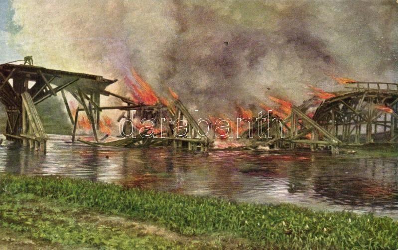 Brückensprengung auf dem russischen Kriegsschauplatz / bridge explosion at the Eastern front, K.u.K. military art postcard, Felrobbantott híd a keleti fronton, K.u.K. katonai művészeti képeslap