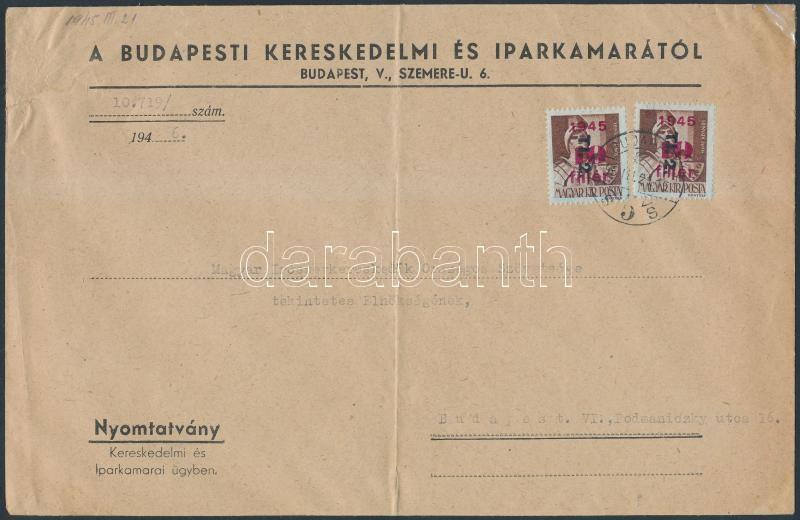 Inflation cover, (9. díjszabás) Nyomtatvány Betűs II. 2xTl.2/10f  bérmentesítéssel, A5-s hajtott boríték