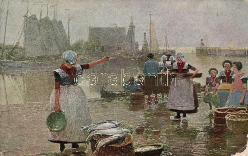 Fischfang in Holland / Dutch fisherwomen, folklore s: H. Hermann, Holland halásznők, folklór, s: H. Hermann