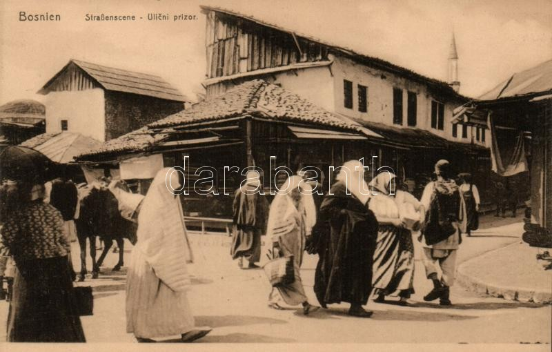 Bosnien, Strassenscene / Bosnian folklore, street scene, Bosnyák folklór