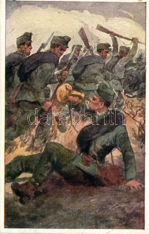 Aus dem goldenen Buche der Armee Serie III. Rotes Kreuz Postkarte Nr. 355. / K.u.K. military art postcard, K.u.k. katonai művészeti képeslap