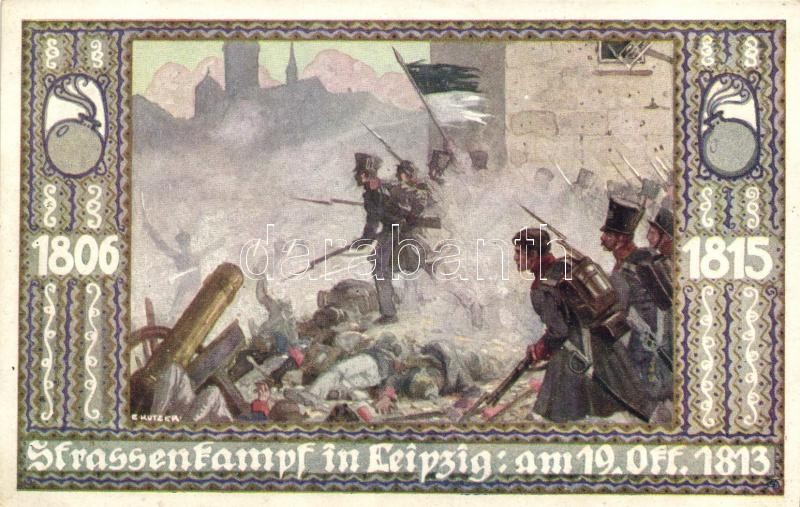 1806-1818 Strassenkampf in Leipzig; Bund der Deutschen in Böhmen / German military art postcard s: E. Kutzer, 1806-1818 Német katonai művészeti képeslap, s: E. Kutzer