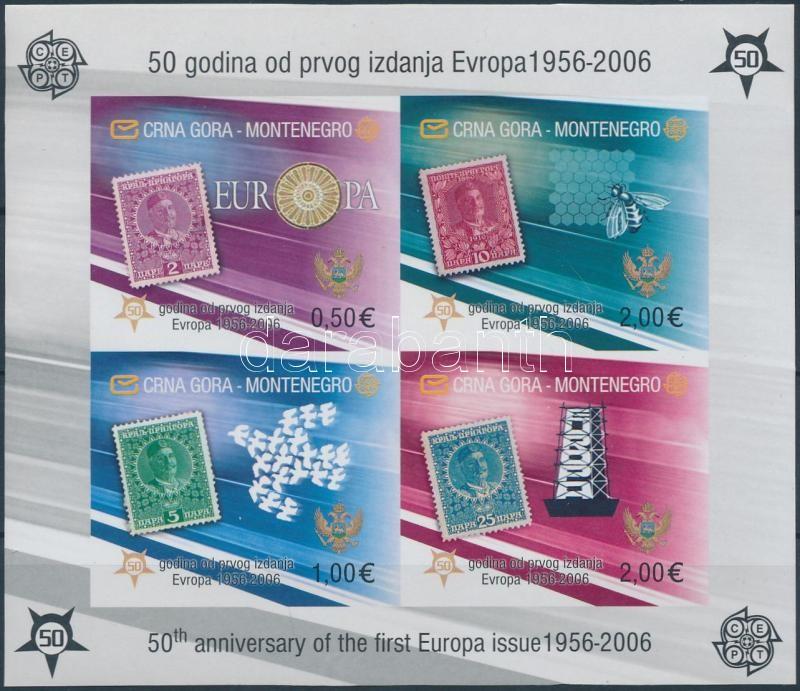 50th anniversary of Europa CEPT imperf block, 50 éves az Europa CEPT bélyeg vágott blokk