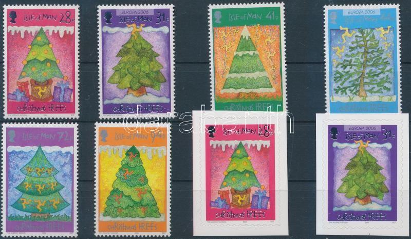 Christmas Trees set + self-adhesive set, Karácsonyfák sor + öntapadós sor