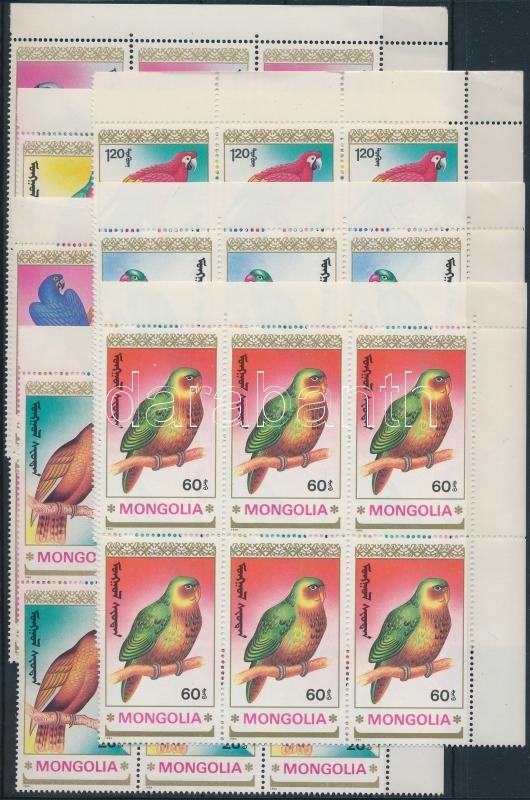 Parrots set in margin blocks of 6, Papagájok sor ívsarki hatostömbökben