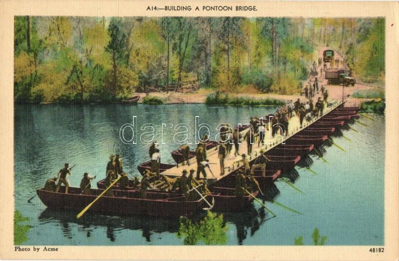 Building a pontoon bridge, American military, Hajóhíd építése, amerikai katonák