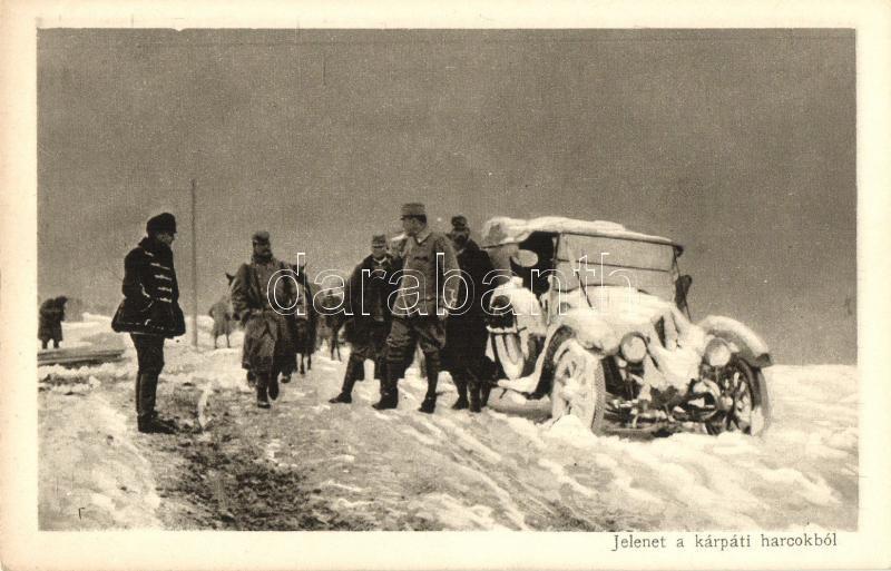 Carpathians, winter, soldiers, automobile, Az Érdekes Újság kiadása: Jelenet a kárpáti harcokból