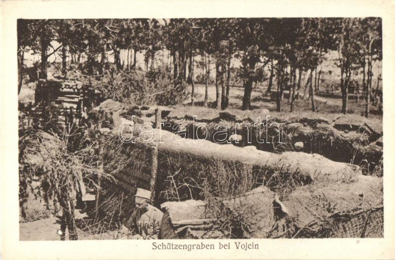 Schützengraben bei Vojcin, Aufnahme von Oberoffizial Niedermaier / WWI ditch, I. világháborús árok