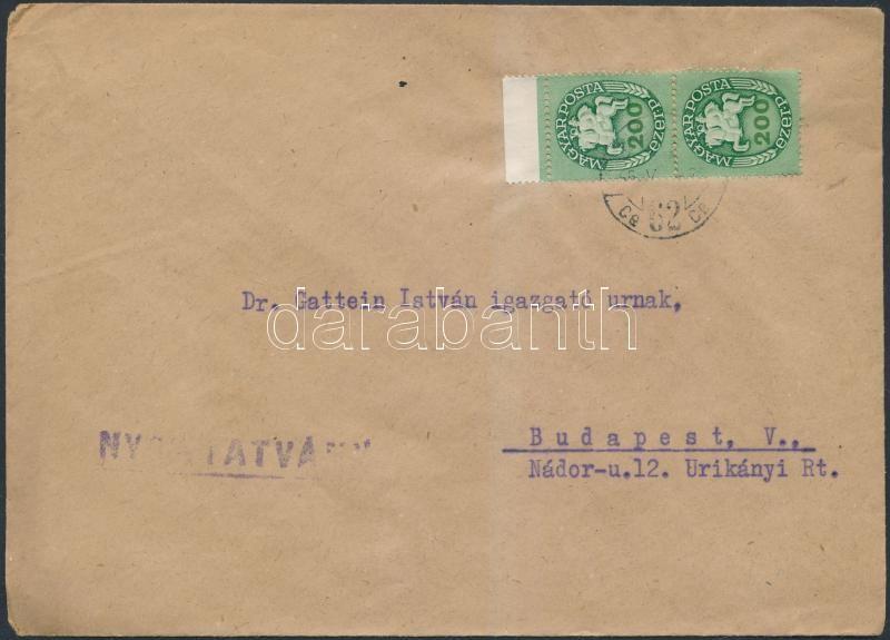 Inflation cover, (14.díjszabás) Nyomtatvány levél Lovasfutár 200eP ívszéli párral bérmentesítve