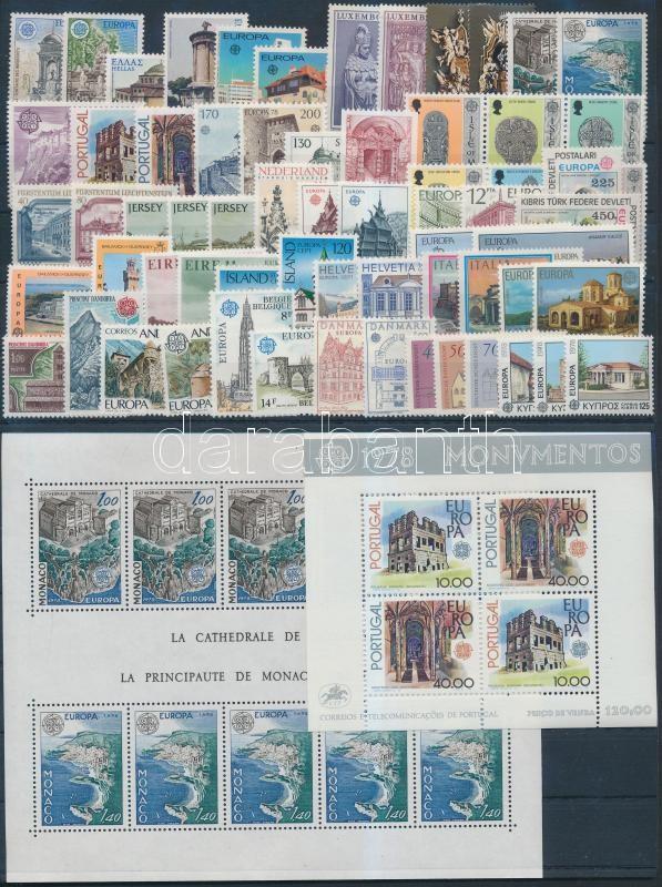 Europa CEPT, Műemlékek teljes évfolyam kiadásai 2 db blokkal, 2 db steckalpon, Europa CEPT, Monuments complete year with 2 blocks