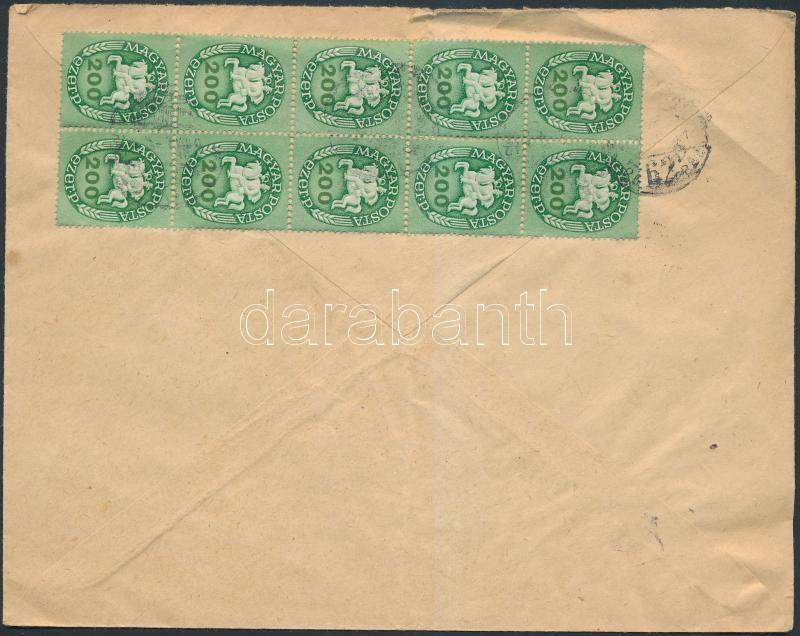 Inflation cover, (14.díjszabás) Távolsági levél Lovasfutár 200eP tizestömbbel bérmentesítve