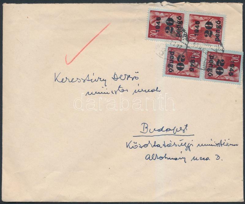 Inflation cover, (5.díjszabás) Helyi levél Kisegítő 4x20P/30f bérmentesítéssel