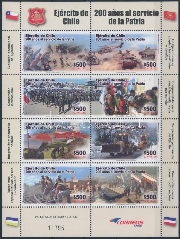 Bicentenary of army minisheet, 200 éves a hadsereg kisív