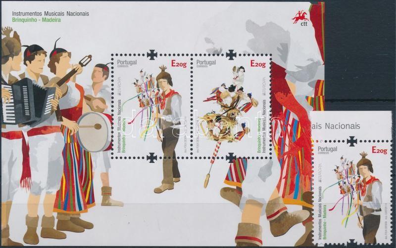 Europa CEPT Instruments margin stamp + block, Europa CEPT Hangszerek ívszéli bélyeg + blokk